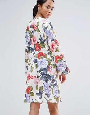 photo Floral Mini Dress with Blouson Sleeve by John Zack Petite, color Garden Floral - Image 2