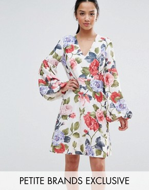 photo Floral Mini Dress with Blouson Sleeve by John Zack Petite, color Garden Floral - Image 1