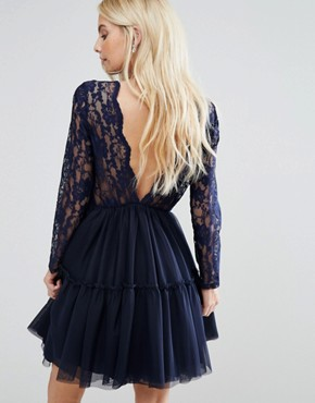 photo Allover Lace Top Mini Prom Tulle Prom Dress with Scallop Back by John Zack Petite, color Navy - Image 2
