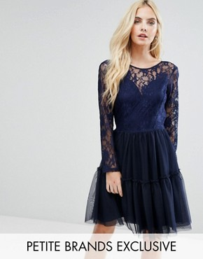 photo Allover Lace Top Mini Prom Tulle Prom Dress with Scallop Back by John Zack Petite, color Navy - Image 1