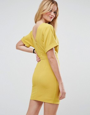 photo Mini Pencil Dress with D-Ring Belt by ASOS, color Chartreuse - Image 2