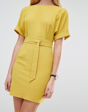 photo Mini Pencil Dress with D-Ring Belt by ASOS, color Chartreuse - Image 3