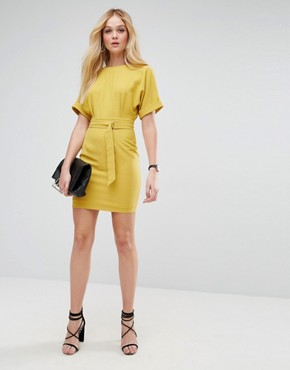 photo Mini Pencil Dress with D-Ring Belt by ASOS, color Chartreuse - Image 4