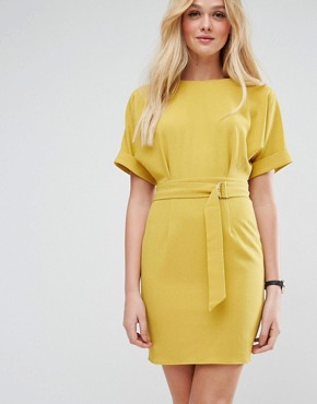 photo Mini Pencil Dress with D-Ring Belt by ASOS, color Chartreuse - Image 1