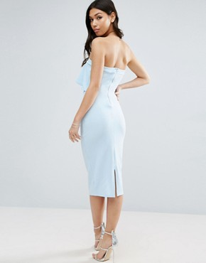 photo Textured Bandeau Asymmetric Ruffle Midi Dress by ASOS, color Pale Blue - Image 2