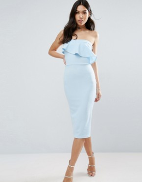 photo Textured Bandeau Asymmetric Ruffle Midi Dress by ASOS, color Pale Blue - Image 1