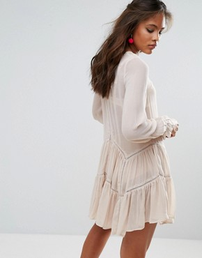 photo Ruffle Hem Swing Dress by Glamorous Tall, color Cream - Image 2