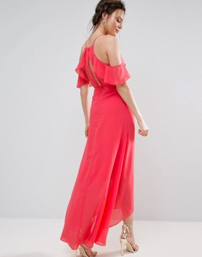 photo Flutter Sleeve Maxi Dress by True Decadence Tall, color Coral - Image 2