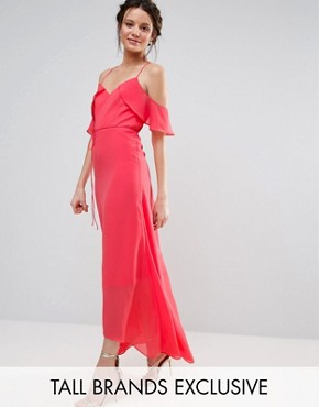 photo Flutter Sleeve Maxi Dress by True Decadence Tall, color Coral - Image 1