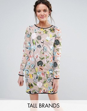 photo Embroidered Long Sleeve Dress by True Decadence Tall, color Multi - Image 1