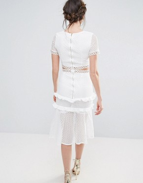 photo Cutout Lace Dress with Frill Hem by True Decadence Tall, color White - Image 2
