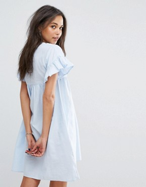 photo Frill and Embroidered Smock Dress by Mango, color Blue - Image 2