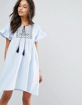 photo Frill and Embroidered Smock Dress by Mango, color Blue - Image 1