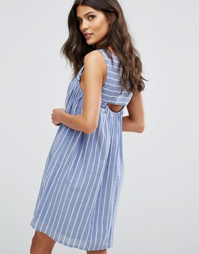 photo Cut Out Detail Stripe Smock Dress by Mango, color Multi - Image 1