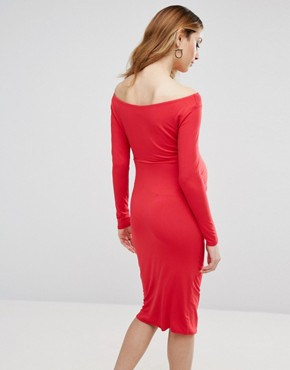 photo Bardot Dress with Long Sleeve by ASOS Maternity PETITE, color Red - Image 2