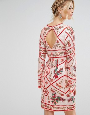photo Premium Embellished Bird Shift Dress by Frock and Frill Tall, color Coral - Image 2