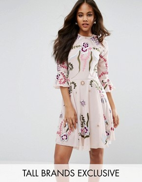 photo Premium Embellished Mini Smock Dress with Fluted Sleeve by Frock and Frill Tall, color Nude - Image 1