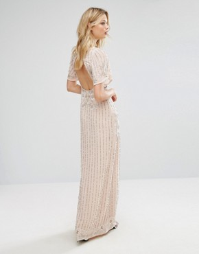 photo Premium Embellished Maxi Dress with Fluted Sleeve Detail by Frock and Frill Tall, color Nude - Image 2