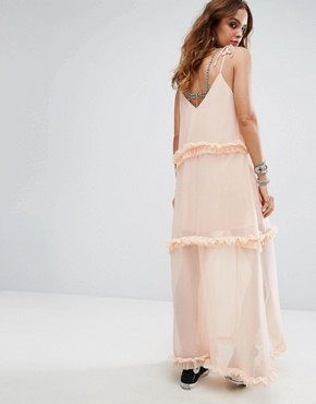 photo Cami Maxi Dress with Tiered Ruffle Trims by Sacred Hawk, color Light Pink - Image 2