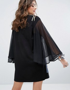 photo T-shirt Dress with Sheer Wide Sleeves and Tupac Print by Sacred Hawk, color Black - Image 2