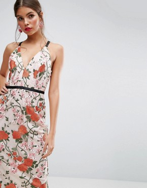 photo Embroidered Floral Midi Dress with Contrast Straps by ASOS SALON, color Multi - Image 2