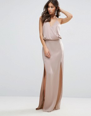photo Drape Front Strappy Back Maxi Dress by ASOS, color Rose Dust - Image 2