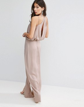 photo Drape Front Strappy Back Maxi Dress by ASOS, color Rose Dust - Image 1