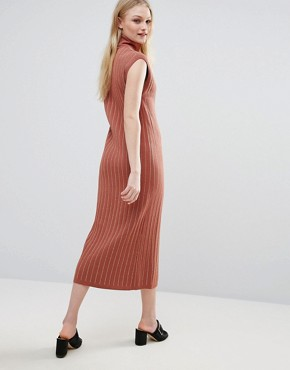 photo Fiesta Knit Roll Neck Maxi Dress by ADPT, color Copper Brown - Image 2