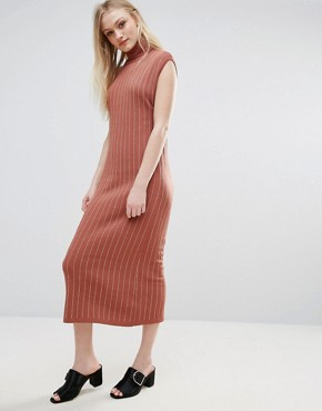 photo Fiesta Knit Roll Neck Maxi Dress by ADPT, color Copper Brown - Image 1