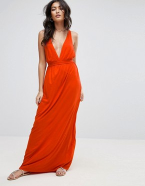 photo Cross Back Jersey Maxi Beach Dress by ASOS, color Rust - Image 2