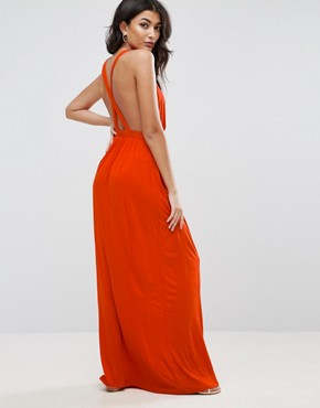 photo Cross Back Jersey Maxi Beach Dress by ASOS, color Rust - Image 1