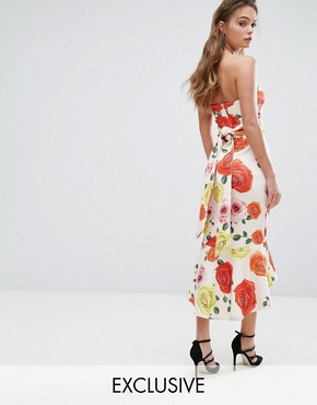 photo Bandeau Midi Dress with Bow Back and Peplum Hem by True Violet, color Multi Rose - Image 1