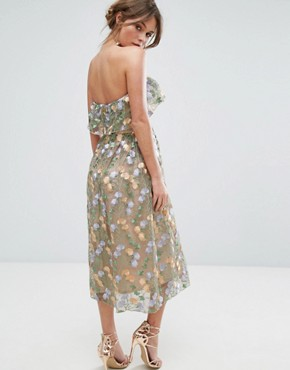 photo Floral Embroidered Strapless Midi Dress by True Violet, color Multi - Image 2