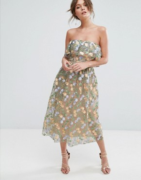 photo Floral Embroidered Strapless Midi Dress by True Violet, color Multi - Image 1