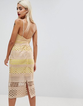 photo Hitchcock Graphic Lace Midi Pencil Dress by ASOS PETITE, color Yellow - Image 2