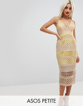photo Hitchcock Graphic Lace Midi Pencil Dress by ASOS PETITE, color Yellow - Image 1
