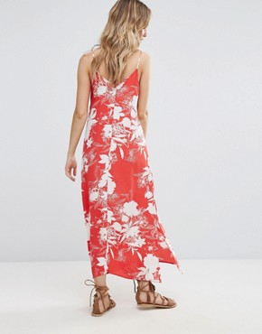 photo Floral Printed Maxi Cami Dress by Vila, color Flame Scarlet - Image 2