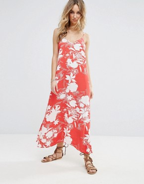 photo Floral Printed Maxi Cami Dress by Vila, color Flame Scarlet - Image 1