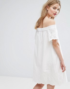 photo Bardot Broderie Detail Smock Dress by Vila, color Cloud Dancer - Image 2