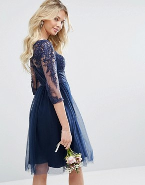 photo Bardot Neck Midi Dress with Premium Lace and Tulle Skirt by Chi Chi London, color Navy - Image 2