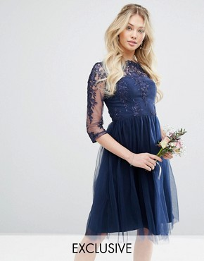 photo Bardot Neck Midi Dress with Premium Lace and Tulle Skirt by Chi Chi London, color Navy - Image 1