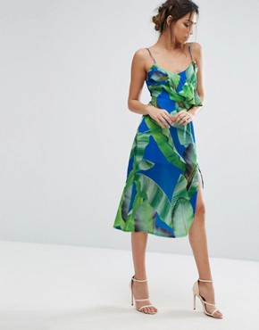 photo Palm Print Strappy Midi Dress with Thigh Split by Every Cloud, color Navy Palm Print - Image 1