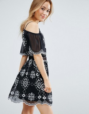 photo Embroidered Cold Shoulder Dress by Miss Selfridge Petite, color Black White - Image 2