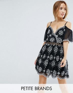 photo Embroidered Cold Shoulder Dress by Miss Selfridge Petite, color Black White - Image 1