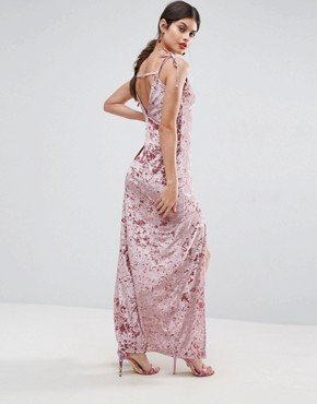 photo Crushed Velvet Maxi Dress with Ties by ASOS, color Nude - Image 2