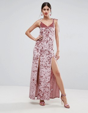 photo Crushed Velvet Maxi Dress with Ties by ASOS, color Nude - Image 1