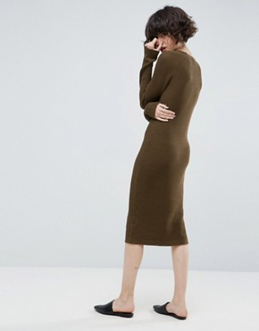 photo Chunky Knit Midi Dress with Rib Panel by ASOS, color Khaki - Image 2