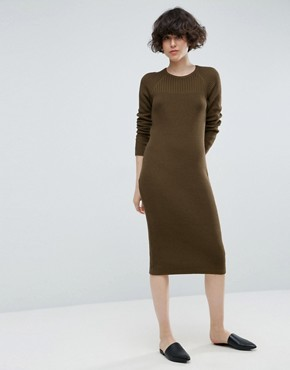 photo Chunky Knit Midi Dress with Rib Panel by ASOS, color Khaki - Image 1