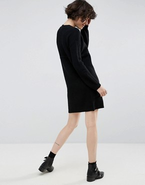 photo Chunky Knit Dress in Rib with High Neck by ASOS, color Black - Image 2