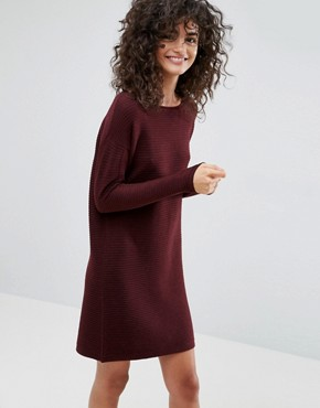 photo Jumper Dress in Ripple Stitch by ASOS, color Dark Red - Image 1